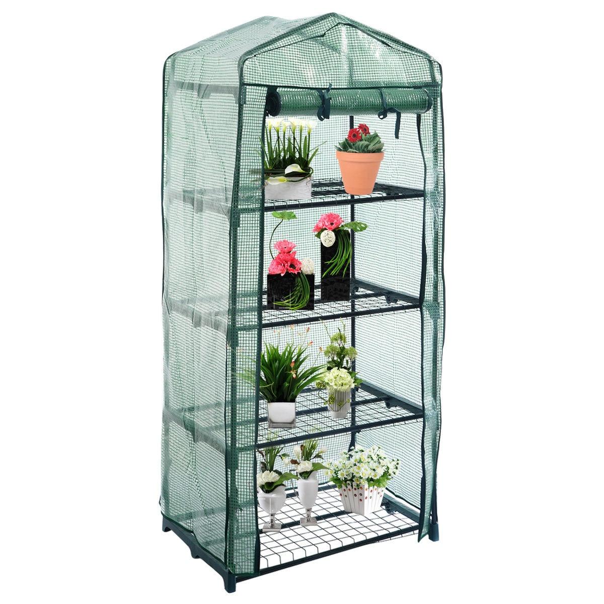 practical 4 tier outdoor garden greenhouse grow cold frame wshelving reinforced cvers