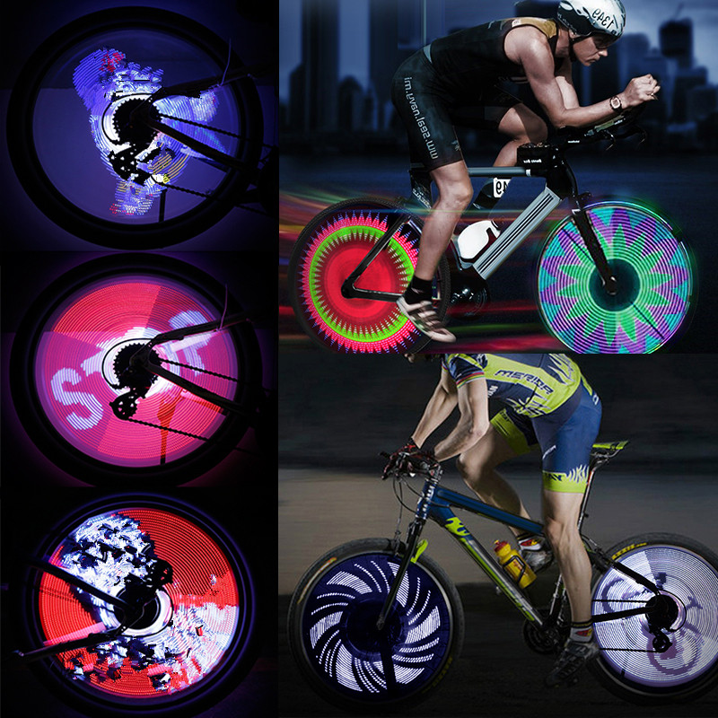 64 LED RGB Bicycle Wheel Spoke Light Waterproof Programmable DIY Bicycle Light Bike Smart Lamp Double-sided Display Pattern