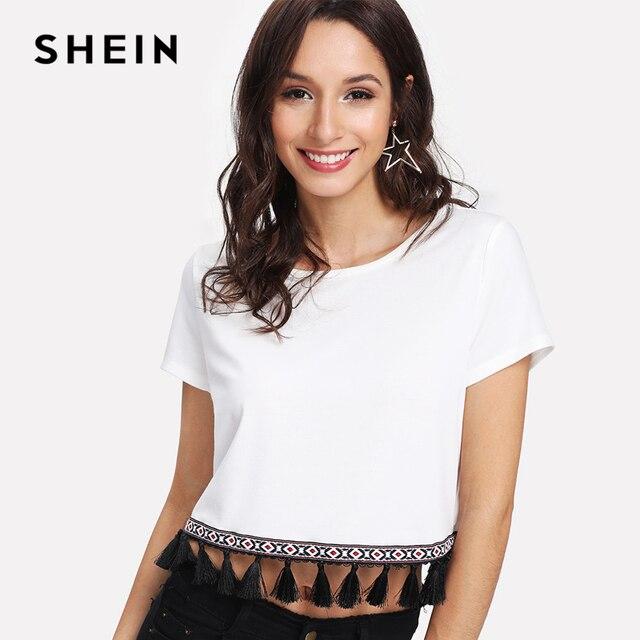 410666a54 SHEIN Embroidered Tape & Tassel Hem Tee 2018 Summer Ladies Vacation Crop T  shirt Tops Round Neck Short Sleeve Fringe T-shirt