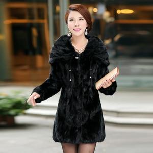 Image 2 - Natural Real Piece mink fur coat  with hood Womens Genuine Mink Fur Jacket Outwear