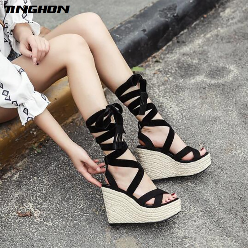 TINGHON Women Tassel Bow Lace up Platform Sandals Peep Toes Wedge Espadrilles Buckle Strap Comfortable