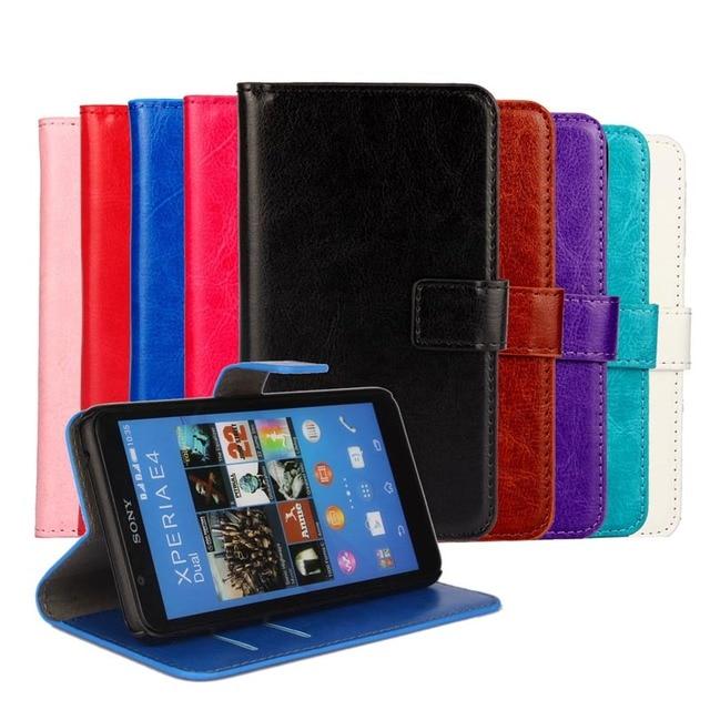 Case For Sony Xperia E4 Cover Fundas Flip Wallet PU Leather For Sony Xperia E4 Dual E2114 E2124 E2115 E2104 E2105 Coque Funda