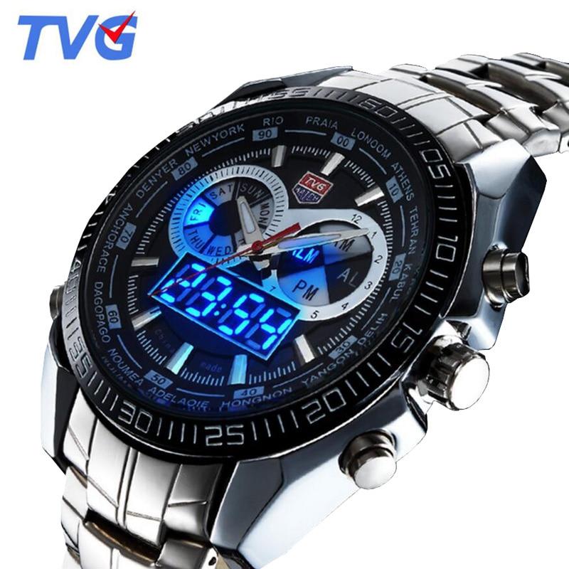 TVG órák férfi top márka luxus LED digitális analóg kvarc óra férfi sport órák 30M vízálló relogio masculino