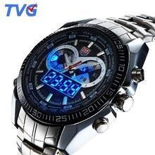 Top Marca de Lujo Tvg Relojes Hombres de Acero Inoxidable Reloj de Cuarzo Analógico Digital Hombres Deportes Impermeable Reloj Militar Reloj Hombre