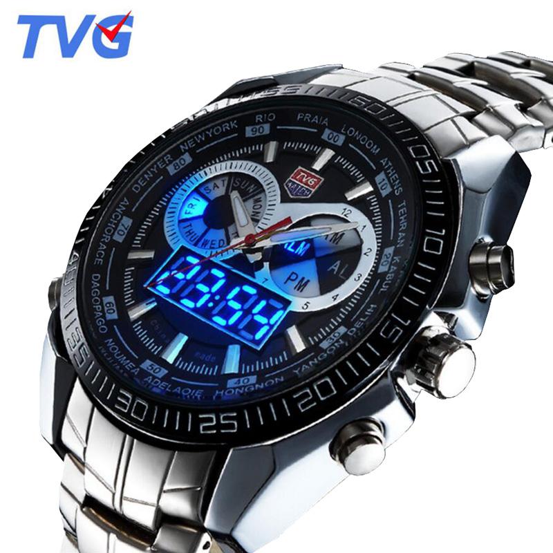 Prix pour Tvg montres hommes top marque de luxe en acier inoxydable numérique analogique à quartz montre hommes sports montres 30 m étanche relogio masculino