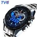 Tvg relógios homens top marca de luxo de aço inoxidável dupla afixação relógio de quartzo homens esportes relógios 100 m à prova d' água relogio masculino