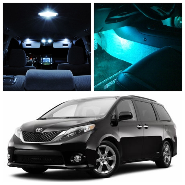 13Pcs Ice Blue Bulbs White LED Lights Interior Package Kit For 2011 2015  Toyota Sienna