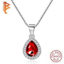 BELAWANG Authentic 925 Sterling Silver Water Drop Pendant Necklace Sparkling Red Crystal Silver Chain Necklaces For Women