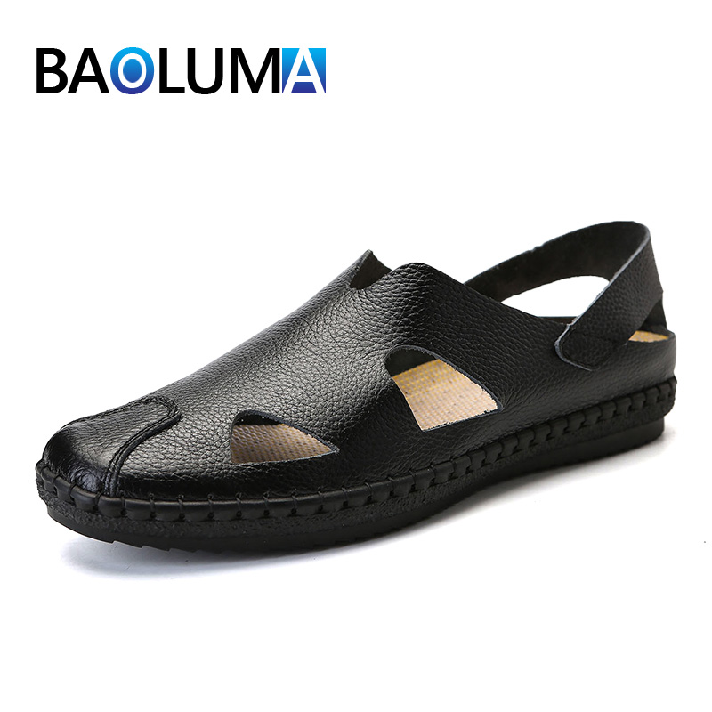 2019 Man footwear casual shoes Men beach sandals light leather soft bottom male summer shoes genuine leather outdoor sandals thumbnail