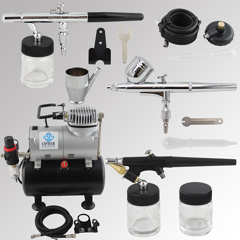 цена на OPHIR 3pcs Airbrush Kit with Air Tank Compressor for T-shirt Painting Makeup Tanning Model Paint Air Brush _AC090+004A+071+072