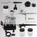 OPHIR 3pcs Airbrush Kit with Air Tank Compressor for T-shirt Painting Makeup Tanning Model Paint Air Brush _AC090+004A+071+072
