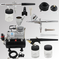 OPHIR 3pcs Airbrush Kit with Air Tank Compressor for T shirt Painting Makeup Tanning Model Paint Air Brush _AC090+004A+071+072