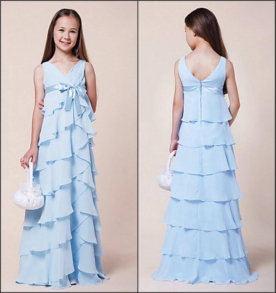 Aliexpress buy 2015 cheap a line tiered junior bridesmaid aliexpress buy 2015 cheap a line tiered junior bridesmaid dresses light blue v neck sleeveless bow sash party gowns gl from reliable gown glove ombrellifo Images