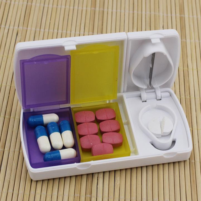Urijk Home Kit Cut Drug Portable Cut Doser Dedicated Blade Cut Doser Pill Dispenser Seal Medicine Box Home Portable Pill Cases