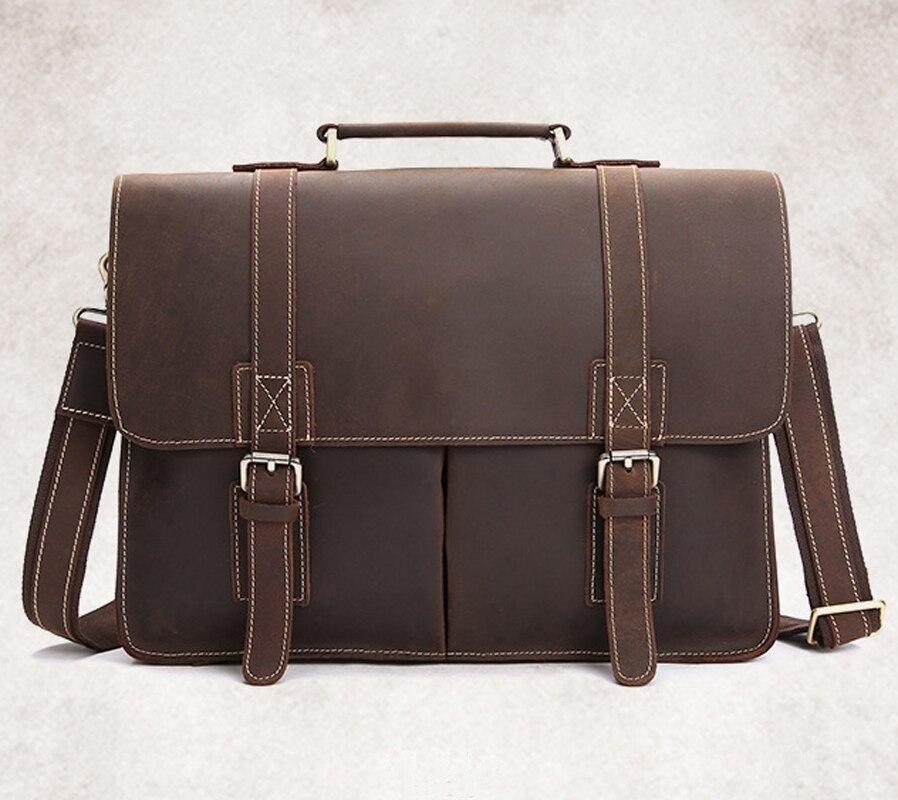 Vintage Horse Echtes Business Tote Laptoptasche tasche Handtasche Schultertasche Männlich Männer Aktentasche Crazy Leder rnHB6r