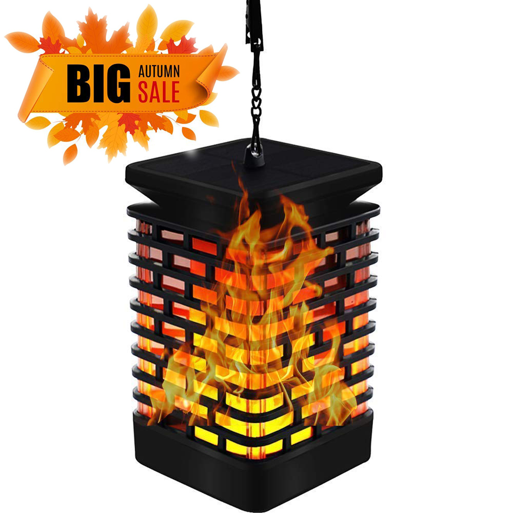 1//2X Solar Flicker Flame Light Solar Lights Outdoor Wall Lamp Fixture Waterproof