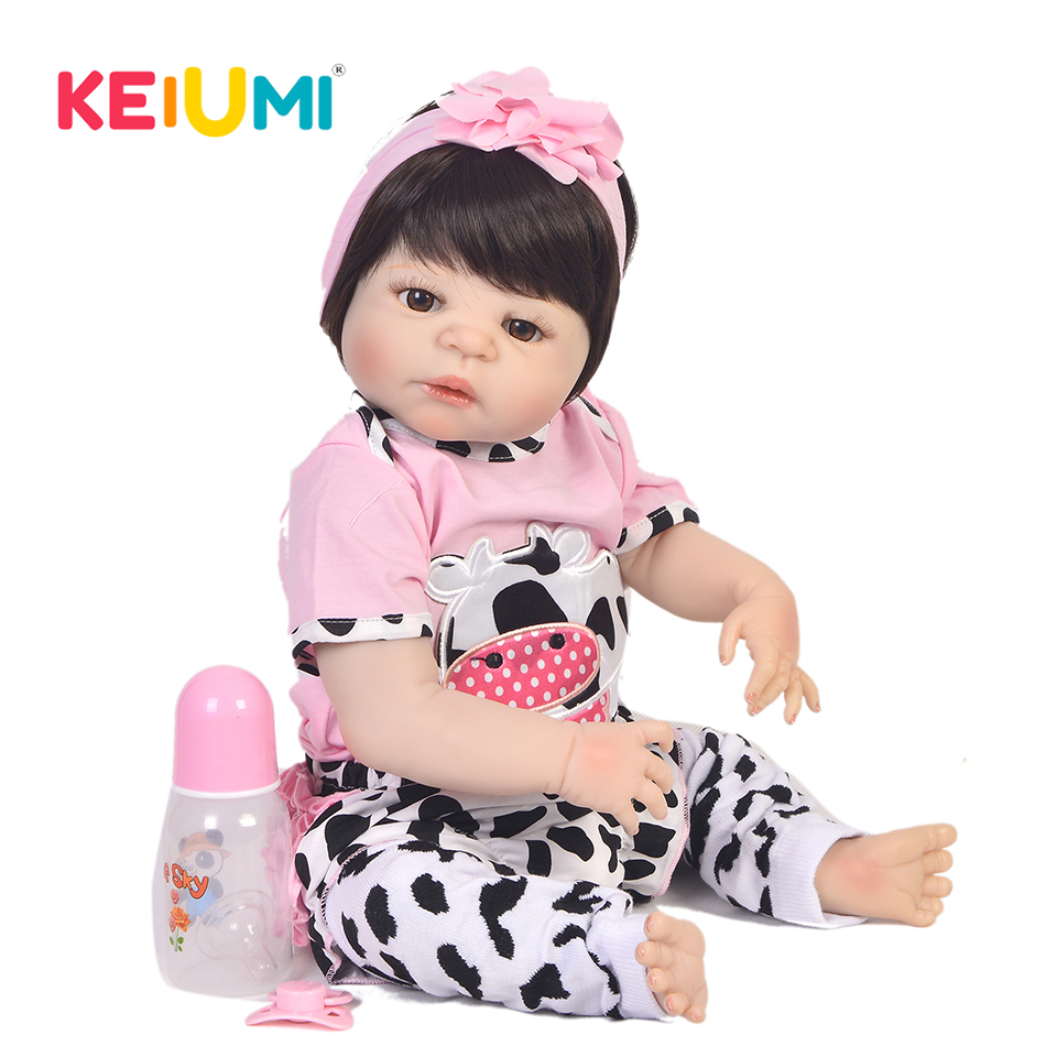 Lifelike Silicone Reborn Baby Menina Alive 23'' Newborn Baby Dolls Full Vinyl body Wear Pink Cow Clothes Truly Kids Playmates