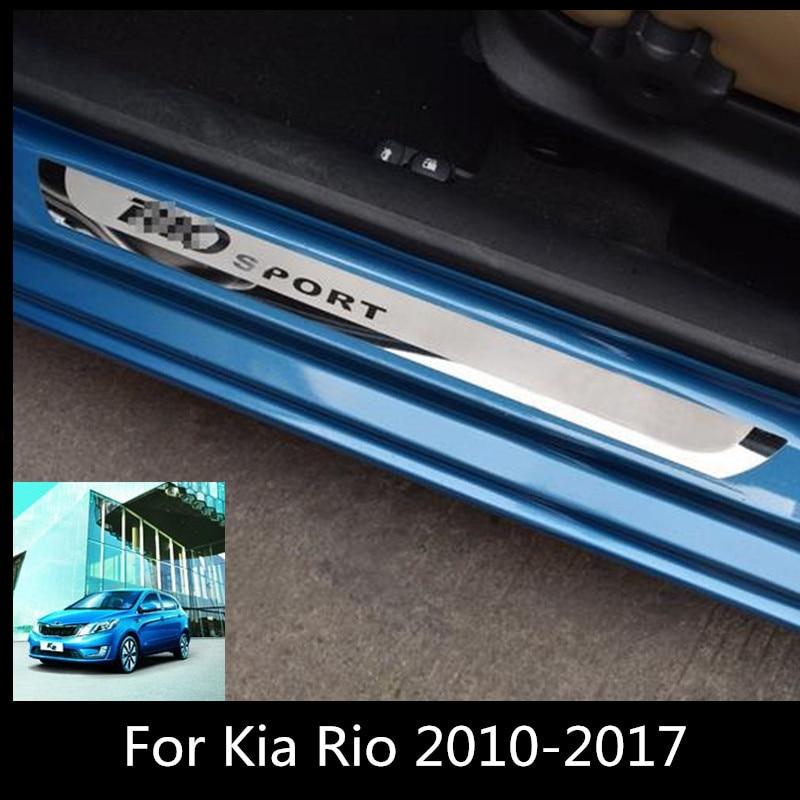 2019 Led Door Sill Illuminated Stainless Steel Scuff: Car Door Sills Sticker For RIO 2010 2019 Stainless Steel