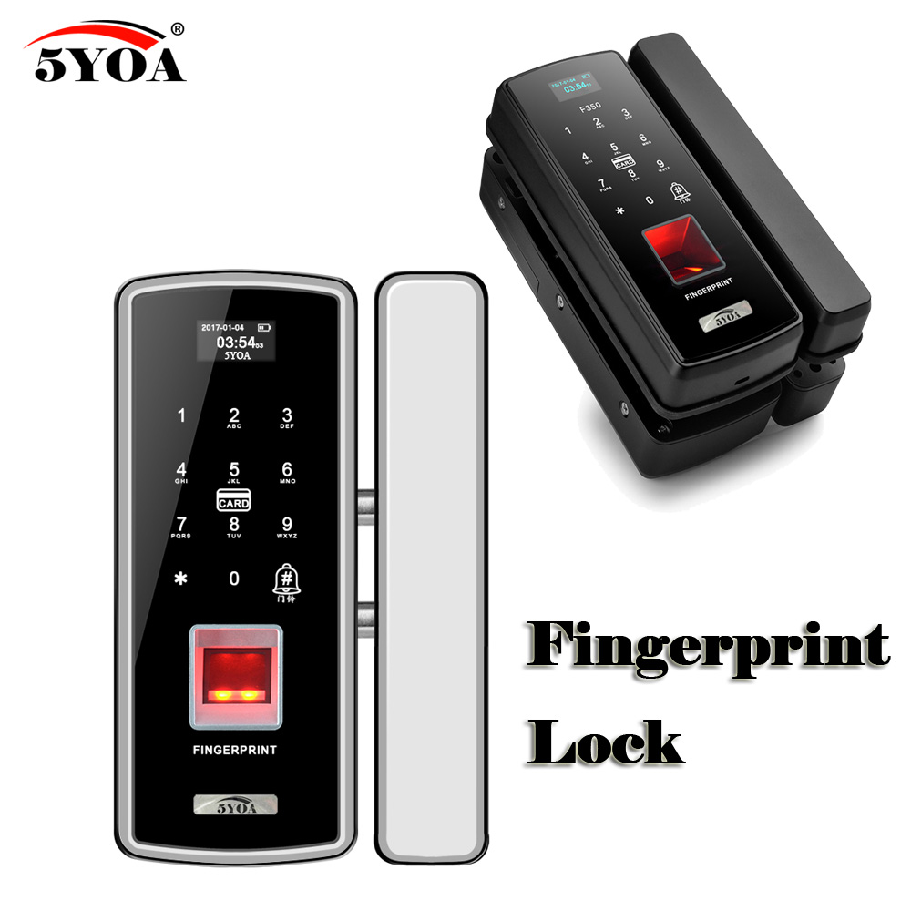 Glass Fingerprint Lock Digital Electronic Door Lock For Home Anti theft Intelligent Password RFID Card Standalone