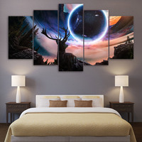5 Piece Canvas Art Miracle Views Planets Animals The Deer HD Printed Wall Art Home Decor
