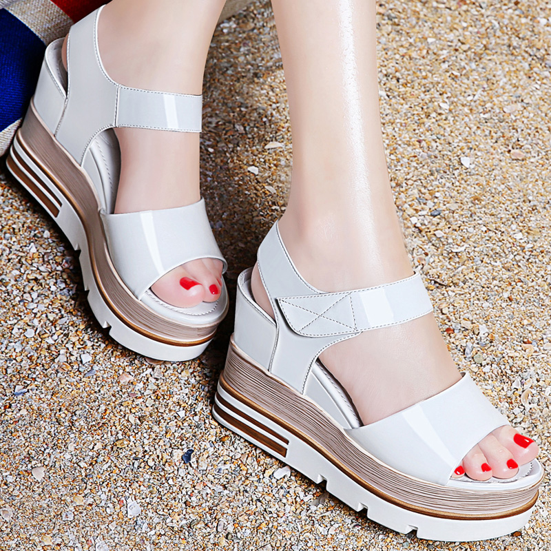 74d5d4a977 Guciheaven Stylish Women Sandals,Comfortable Patent Leather Wedges Shoes,Summer  Ankle Strap Flat Platform Sandal,College Style-in Women's Sandals from Shoes  ...