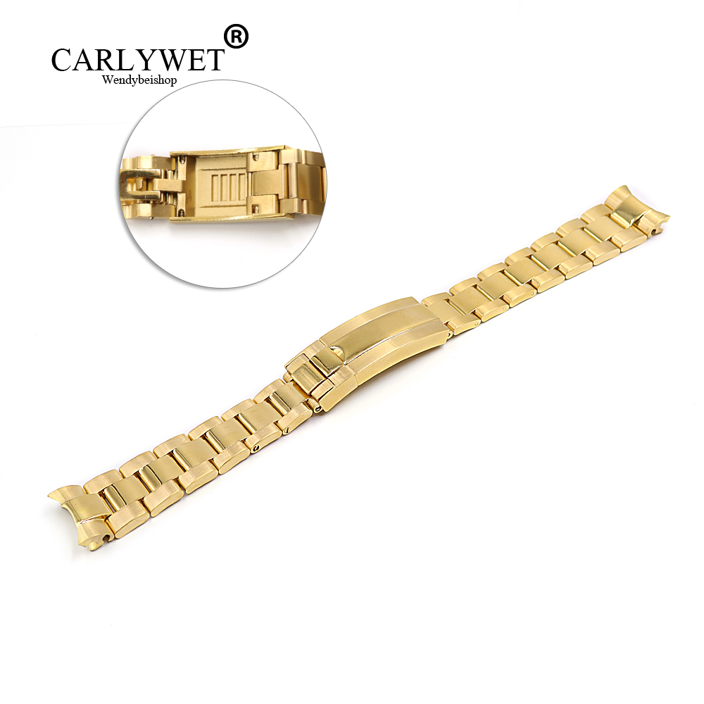 CARLYWET 20mm Gold Stainless Steel Solid Curved End Screw Links New Style Glide Lock Clasp Steel Watch Band Bracelet Strap carlywet 22 24mm silver solid screw links replaceme 316l stainless steel wrist watch band bracelet strap with double push clasp
