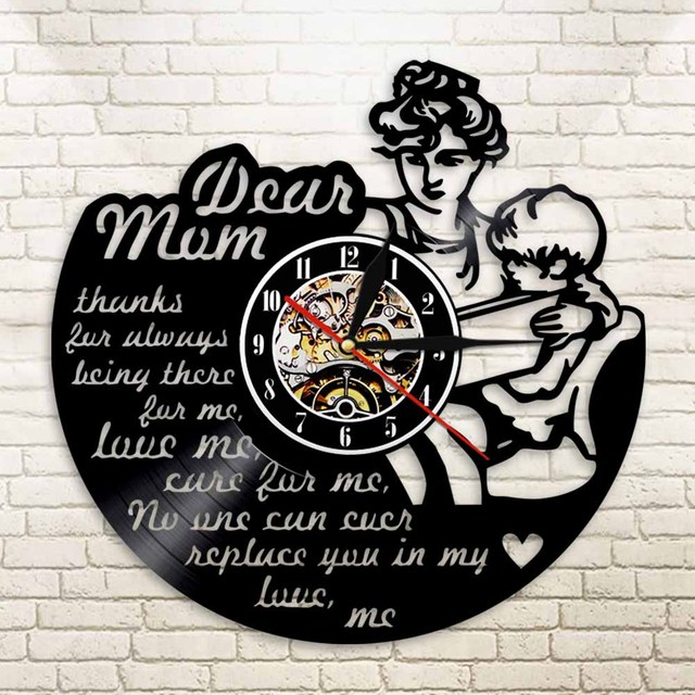 1 piece happy mothers day mom and son vintage vinyl record led 1 piece happy mothers day mom and son vintage vinyl record led light wall clock 12 mozeypictures Gallery