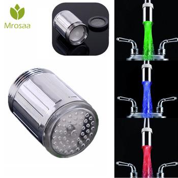 1 Pc Mrosaa M24 LED oświetlenie kranu dotknij dysza głowice czujnik temperatury 3 zmiana koloru RGB Glow bateria do łazienki dysze aeratory tanie i dobre opinie Aeratorów Faucet Tap Aerator