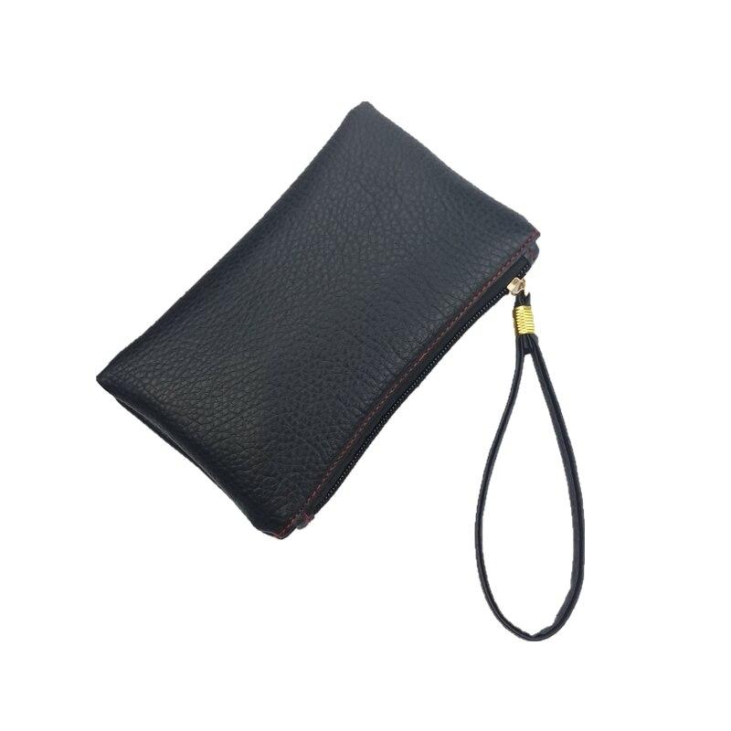 2019 New Fashion Solid Schlank Männer Frauen Schlüssel Brieftaschen Pu Leder Hand Tasche Zipper Clutch Geldbörse Telefon Armband Schwarz Handtasche