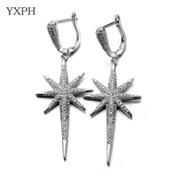 YXPH Fashion Long Star Earrings Women Drop Earrings High Quality AAA Cubic Zirconia Earring Silver Color 55mm*21mm EH107