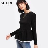 SHEIN Womens Long Sleeve Tops Contrast Binding Textured Peplum Top Autumn Elegant Women Top Black Blouse