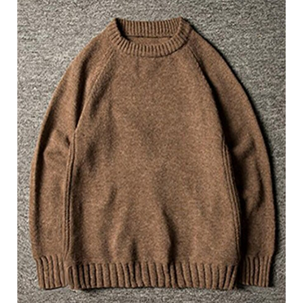 Gresanhevic New Mens Classic Boyfriend Solid Crew Neck Knitted Thick Pullover Sweaters