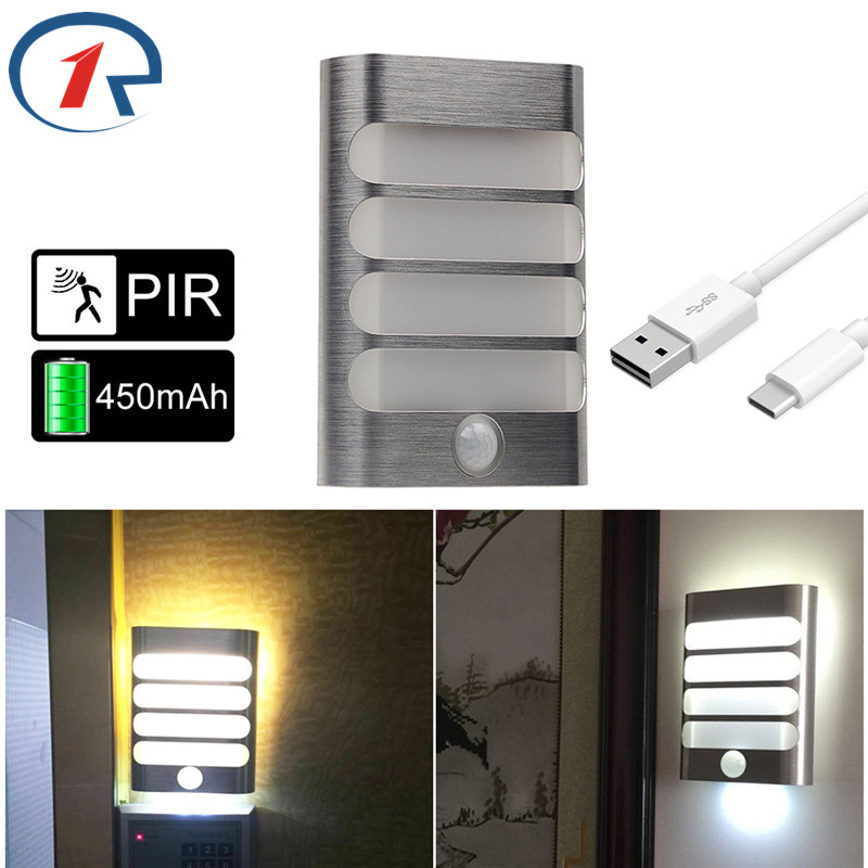 Lighting Basement Washroom Stairs: ZjRight PIR Motion Sensor LED Night Light Rechargeable