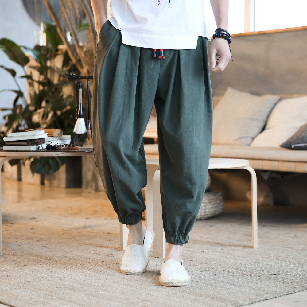 Male Trousers Pants Ankle-Length Baggy Harem Chinese-Style Summer Mens Bloomers Deep-Rise