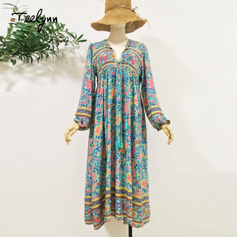 6def4cfe8067d TEELYNN Green floral print boho dress 2018 autumn rayon V-neck long sleeve  tassel women dresses bohemia loose Hippie dresses