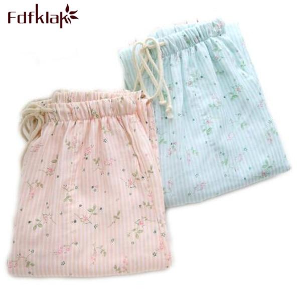 Spring Summer Women's Sleep Bottoms Pajamas Pants Trousers Polka Dot Women Lounge Pants Loose Cotton Home Pant Plus Size E1059