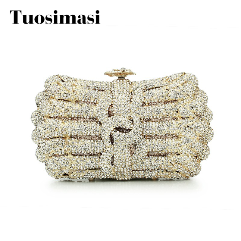 crystal purse with chain flower hard clutch evening bag clutch bag (8758A-GS)