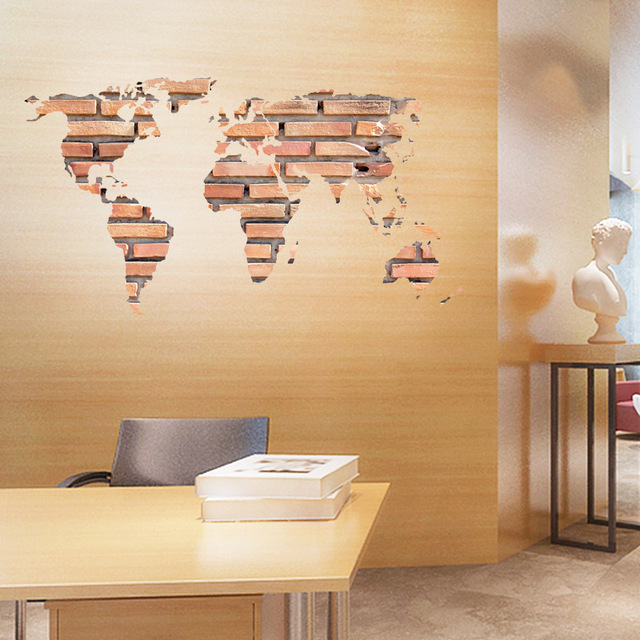 Stone Brick World Map Personality Bedroom Entrance Office Video Wall