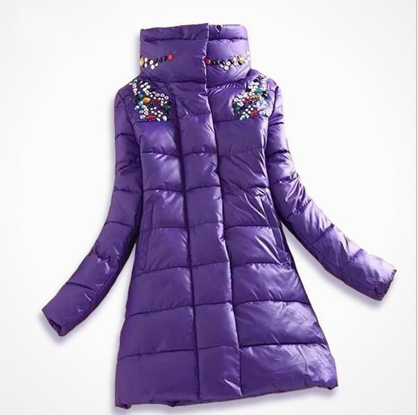 2016 winter jacket women fashion slim medium long coat parka female diamond outerwear women down cotton