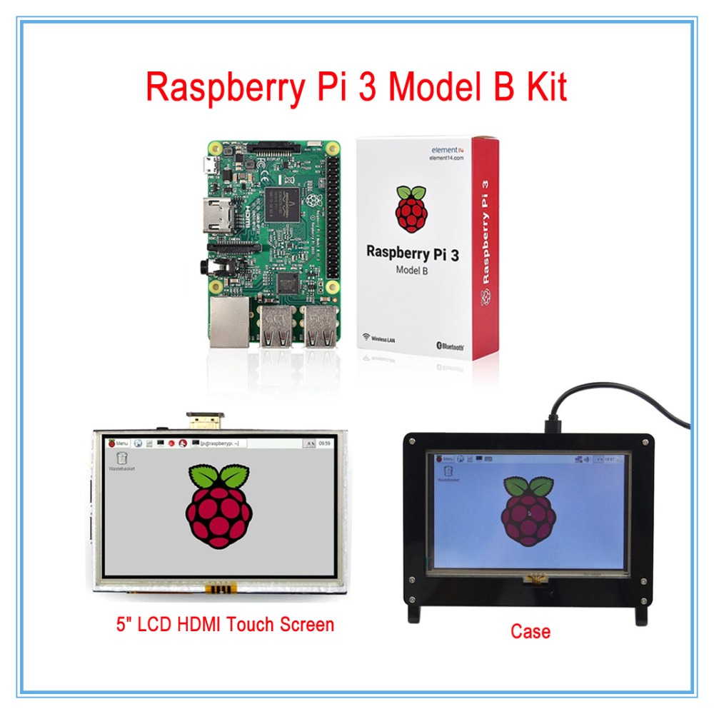 New! Raspberry Pi 3 Kit / 5 Inch LCD HDMI USB Touch Screen Display TFT LCD Panel Module 800*480 + Case(White or Black)