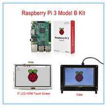 Big sale New! Raspberry Pi 3 Kit / 5 Inch LCD HDMI USB Touch Screen Display TFT LCD Panel Module 800*480 + Case(White or Black)
