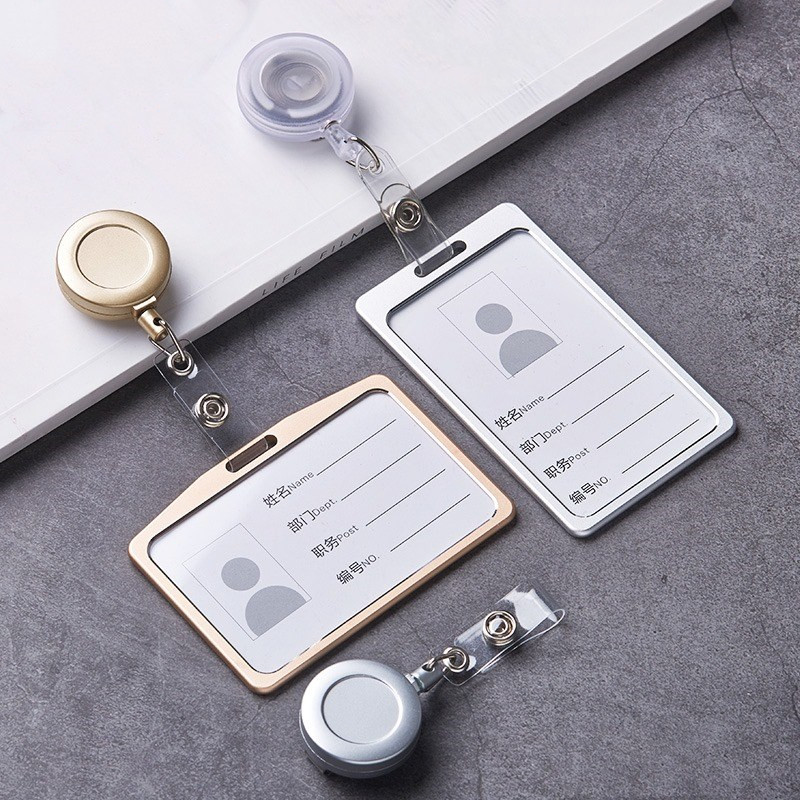 1 Set Fashion Luxurious Aluminum Alloy  Id Card Holder With ABS Retractable Badge Reel Pull ID Card Badge Holder For Office Work
