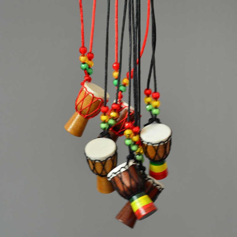 Collar con cuentas de Tambor Africano, collar clásico, collares para niños con pandereta, regalos, joyería de madera maciza 7C0145