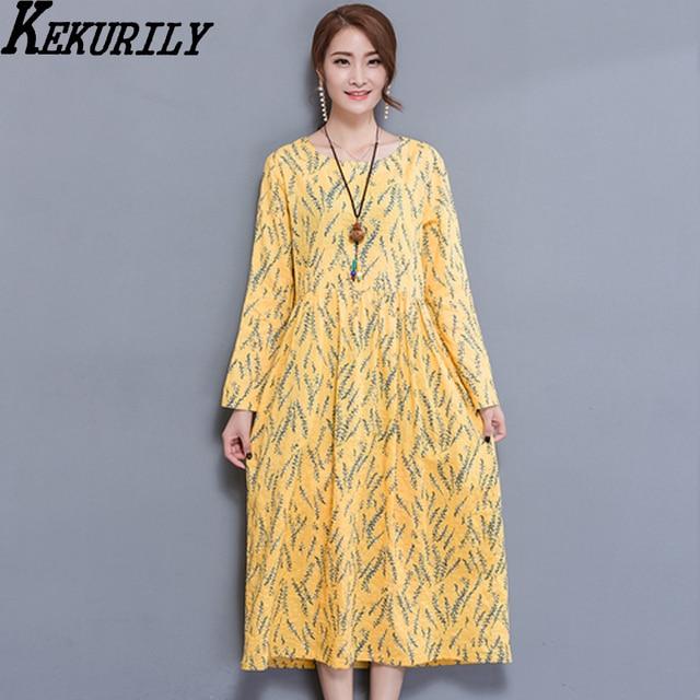 1a79843c43c7 KEKURILY women cotton linen yellow midi dress winter warm floral party  shirt long loose dresses female elgant vintage clothing