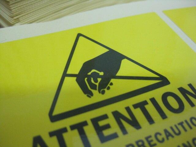 2000 шт./партия 76x76 мм внимание электростатические чувствительные устройства самоклеящаяся этикетка клейкой бумаги/наклейки, пункт № CA21