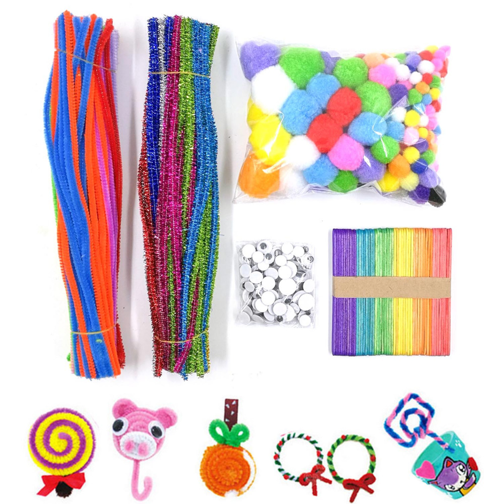 200 Fluffy Glitter Colorful Chenille Stems 150 Wiggle Googly Eyes 200 Pom 50 Craft Sticks Wood DIY Doll Kids Handicraft Play Toy
