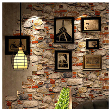 Retro nostalgic style 3D Cultural stone Brick pattern wallpaper Restaurant cafe background wallpaper PVC 0.53x10m wallsticker