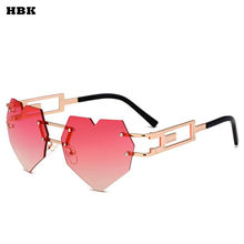 HBK Coração Óculos de Sol Óculos de Sombra Óculos de Sol Sexy Cool Mulheres  Óculos Sem Aro Gradiente Evitar Aquecer Shades oculo. 04f4d612ed