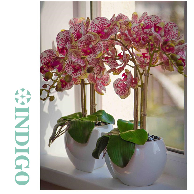 Индиго-фаленопсис Орхидея 90 см (7 цветов/стебель) Настоящий сенсорный Искусственный цветок Свадебная вечеринка центральный цветочный Интер...
