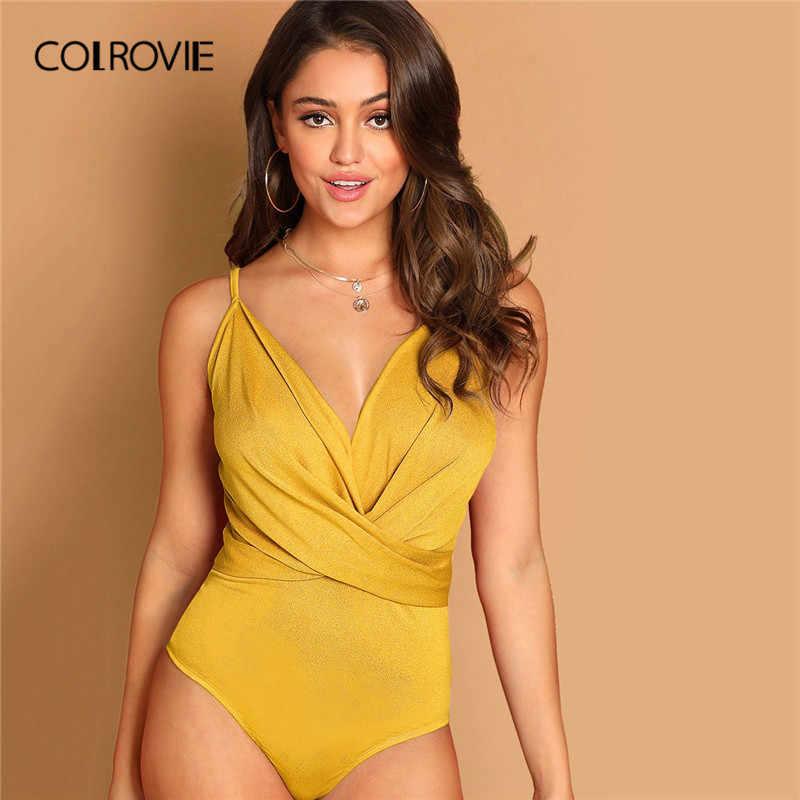 COLROVIE Желтый сплошной погружающийся шеи Criss обёртывать накрест Cami для стройных сексуальное боди для женщин 2019 летние Вечерние боди без рукавов